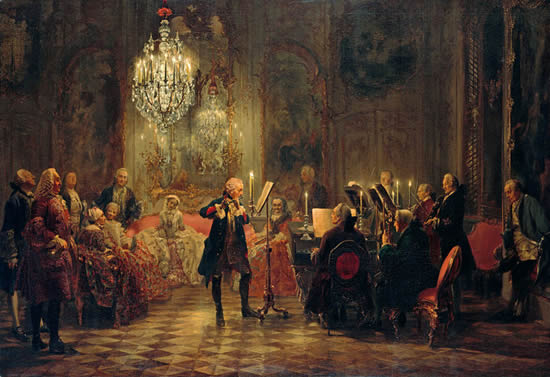Concert de musique classique. Flute Concert with Frederick the Great in Sanssouci