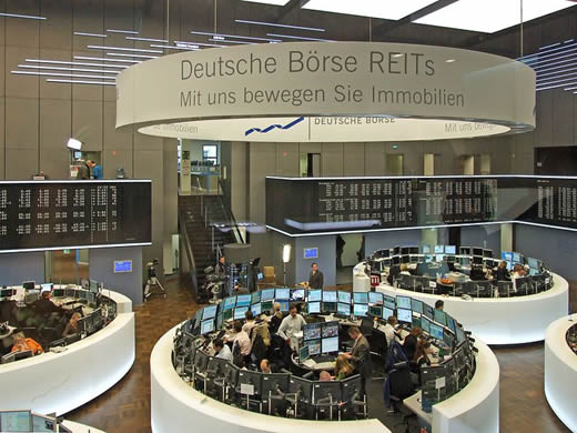 A view of a computerized trading floor at the Frankfurt Stock Exchange.