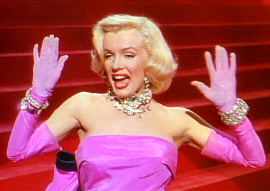 Cropped screenshot of Marilyn Monroe from the trailer for the film Gentlemen Prefer Blondes