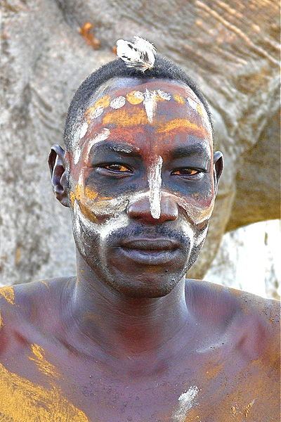 Nuba man with body painting. Photo by Rita Willaert from Belgium.