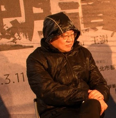 Architect Wang-Shu at the Illegal Architecture exhibition by the Ruin Academy in Taipei. Photo Marco Casagrande.