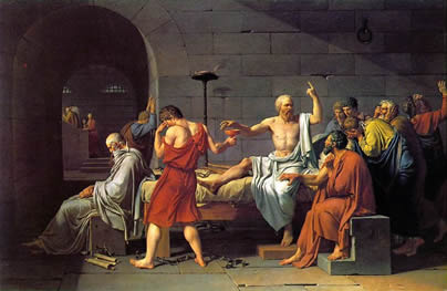 De dood van Socrates, door Jacques-Louis David (1787).